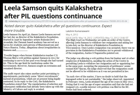Leela Samson PIL questioned 2012 India Today